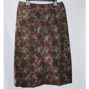 Eddie Bauer Green Floral Corduroy A Line Skirt 10